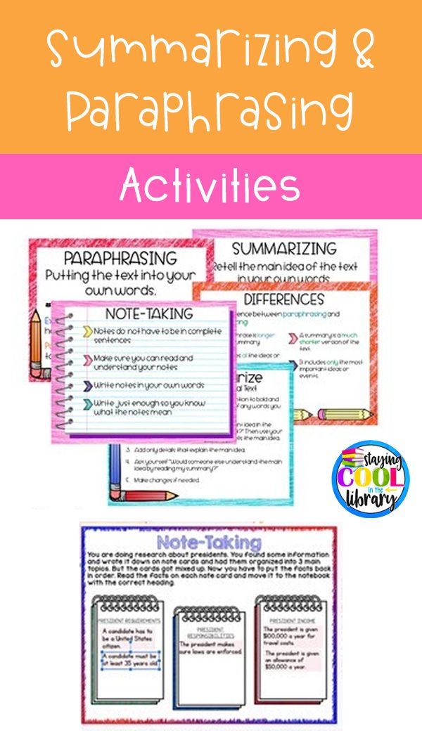 Summarizing And Paraphrasing Activitie For Google Slide Distance Learning Elementary Worksheet Social Studie Worksheets Resources Resource  Writing