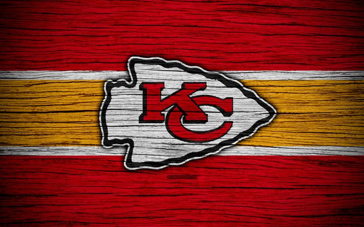 Download wallpapers Kansas City Chiefs, NFL, American Conference, 4k, wooden texture, american football, logo, emblem, Kansas City, Missouri, USA, National Football League