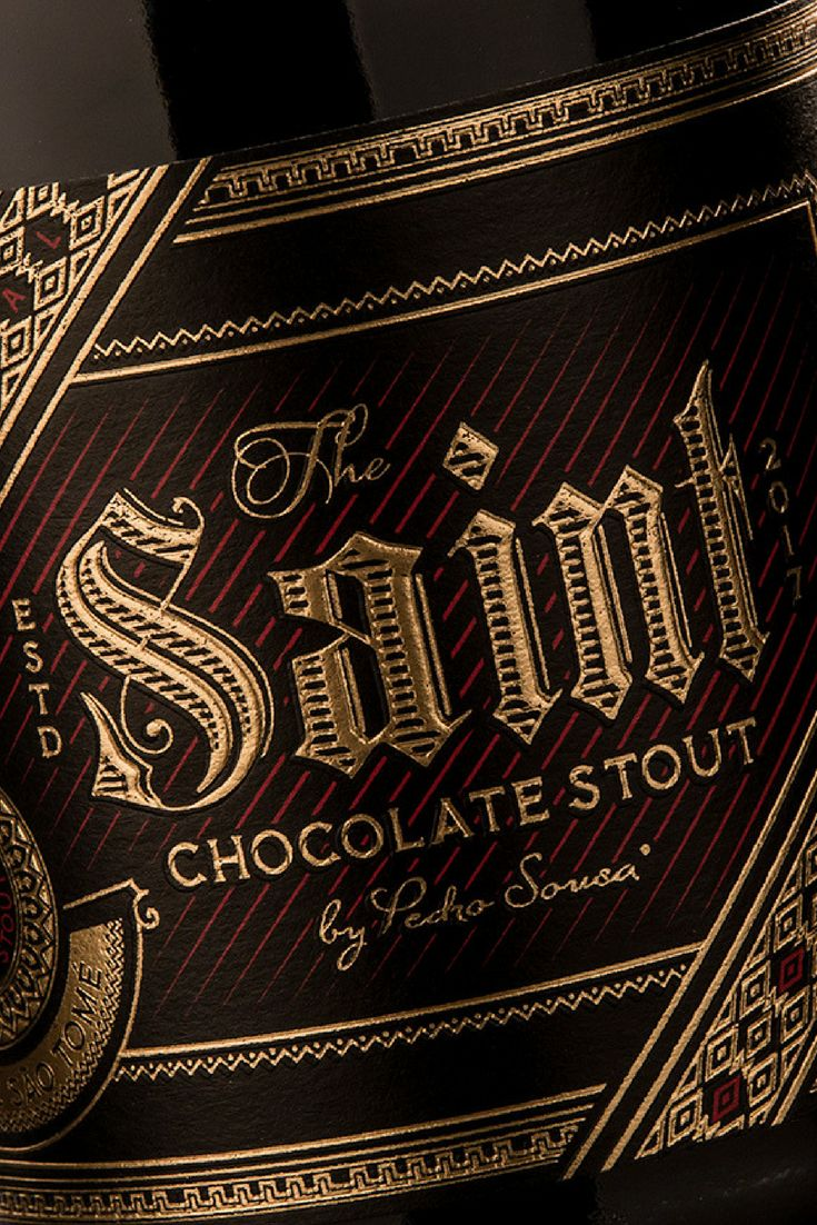 A chocolate stout made with the unique cocoa from São Tomé. The design and typography are meant to make The Saint look as chocolatey and premium as it tastes.