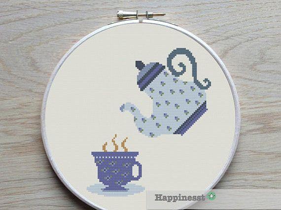 cross stitch pattern tea, modern cross stitch, a cup of tea,  PDF,  ** instant download**