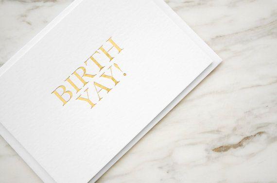 Gold Foil Birthday Card BIRTHYAY by SevenSwansStationery on Etsy