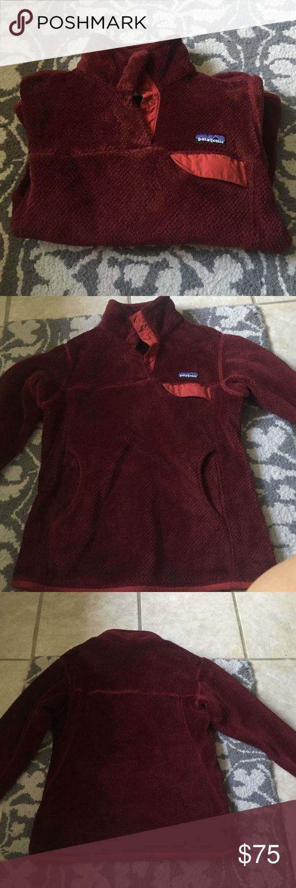 ⚡️FLASH SALE ⚡️Patagonia Re-Tool Snap-T Pullover Women's size small. Used but in perfect condition. Burgundy color. If you have any questions feel free to ask!! On merc for $60. ⚡️today only FLASH SALE⚡️ Patagonia Jackets & Coats
