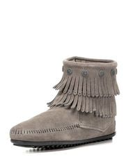 Women's Double Fringe Side Zip Boot, Gray