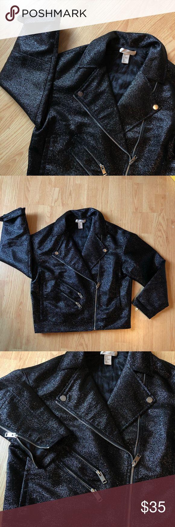H&M OVERSIZED GLITTER BIKER JACKET Biker jacket, How to