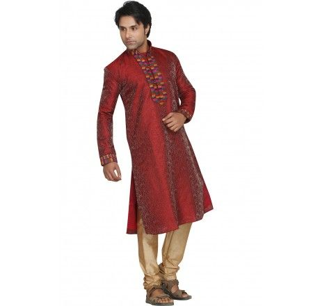Maroon color Kurta Pyjama in art silk - Men/Boys Kurta - Saree,Blouse & more