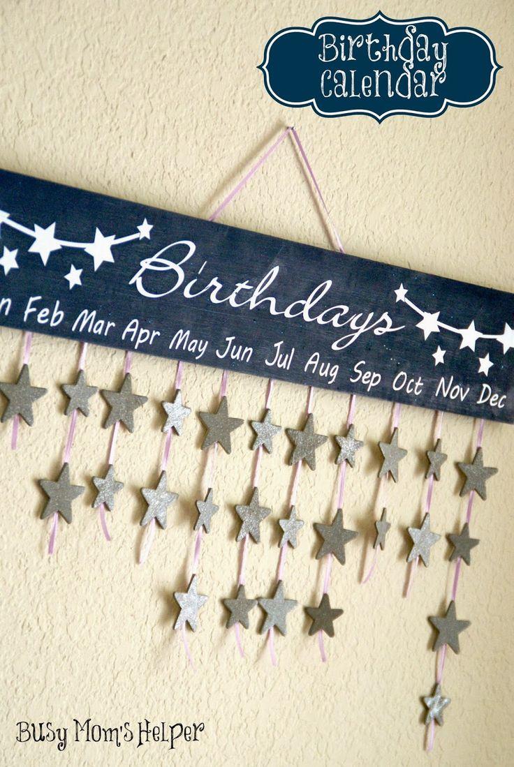 Birthday Calendar DIY via Busy Mom's Helper #birthday #calendar #DIY