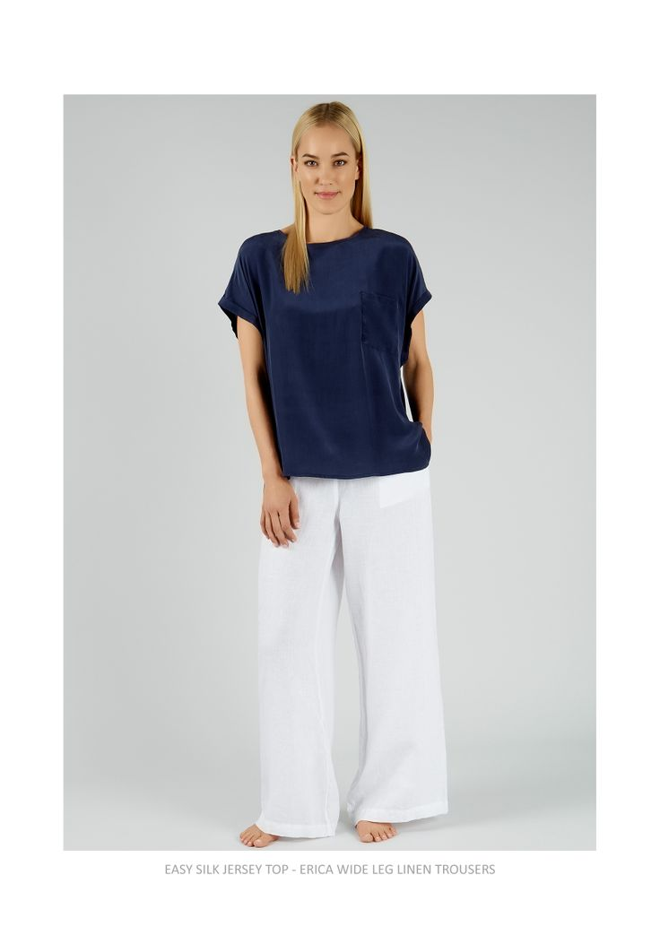 For a classic, elegant look team the Rae Feather Easy Silk Jersey Top with Erica Linen Trousers.