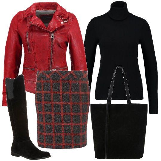 In questo look, adatto per tutti i giorni, la protagonista è una bella gonna a scacchi. L'ho abbinata al rosso e nero: rossa è la giacca di pelle, modello biker. Nero invece sono il maglioncino dolcevita, gli stivali al ginocchio e la shopper capiente.