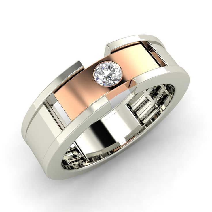 Mens Wedding Ring with Round Cut White Sapphire In Solid 14k White Gold-0.14 Ct   eBay