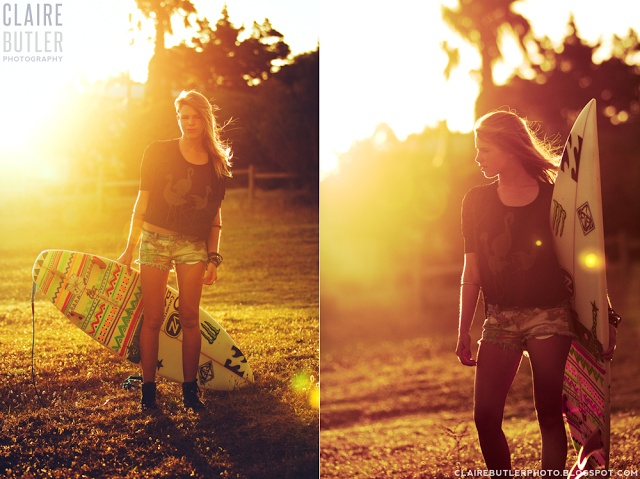 What She Saw Photography by Claire Butler http://clairebutlerphoto.blogspot.com #surfergirl #gurfer #sunset lens flare #surfing