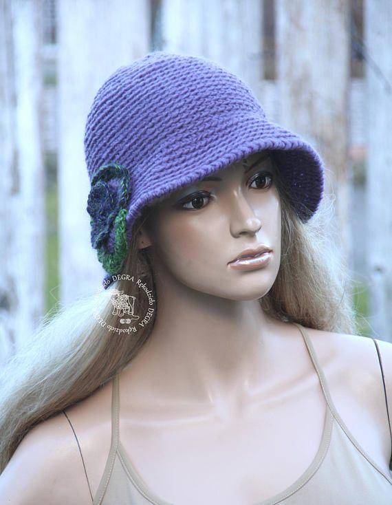 Crochet purple hat Women's cloche Hat Flower hat Purple