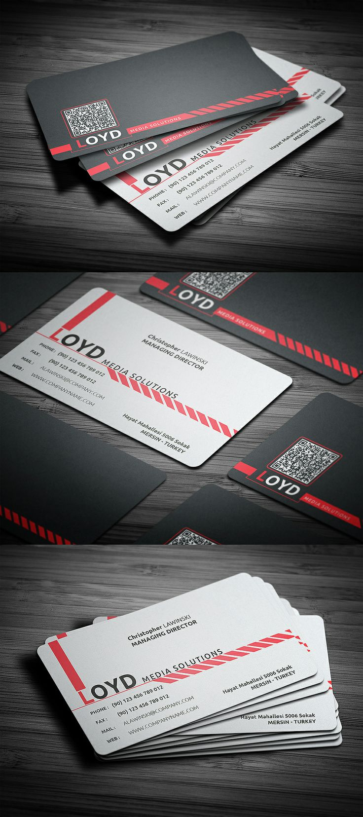 Impressive black and white corporate business card design with round corners, double sided with clean and elegant style.