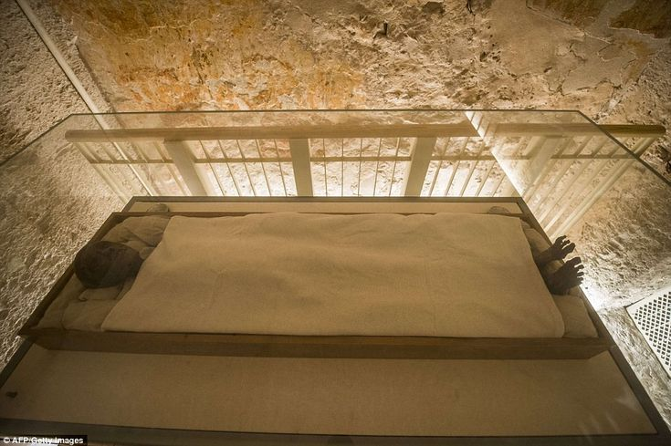 The linen-wrapped mummy of King Tutankhamun displayed in his climate-controlled glass case...
