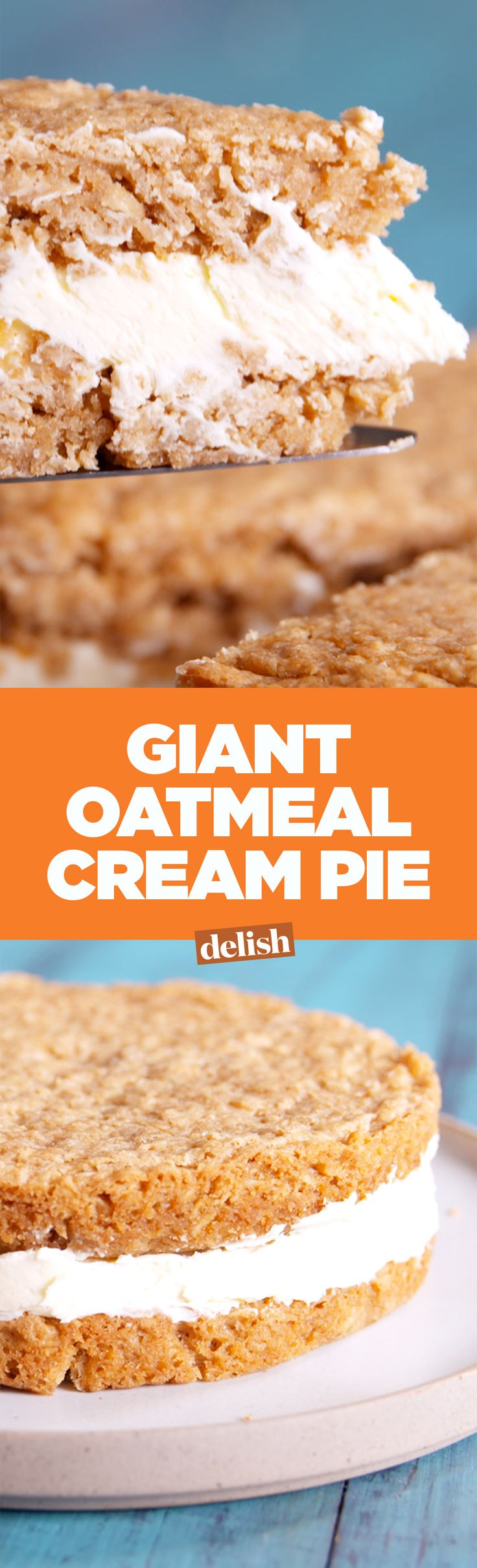 This giant oatmeal cream pie is a bigger, better version of your favorite Little Debbie snack. Get the recipe on Delish.com.