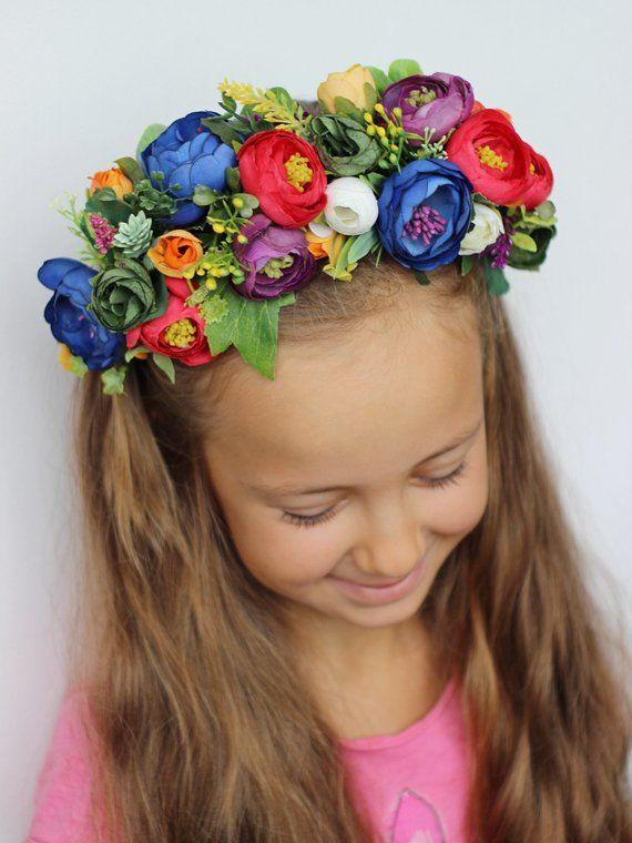 Rainbow Rose Flower Garland Headband Hair Band Crown Festival Boho Pride 3757