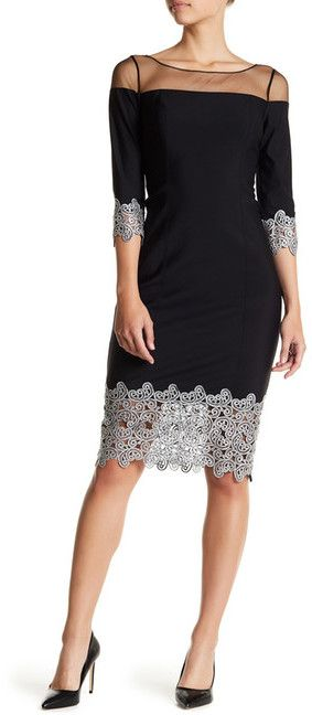 Kay Unger Mesh Yoke Metallic Crochet Lace Dress