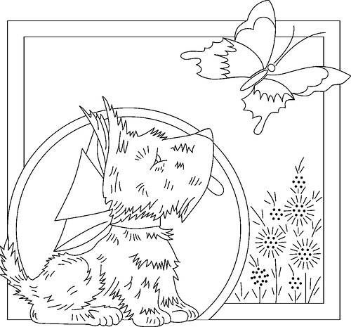 Dog and Butterfly Embroidery Pattern.  Free embroidery pattern to print and stitch.