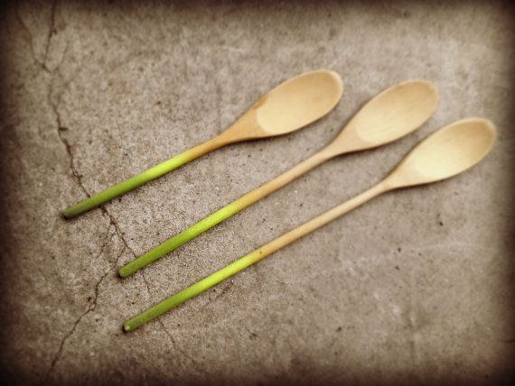 Set of three green ombre wooden spoons by oMEandoMY on Etsy, $12.00