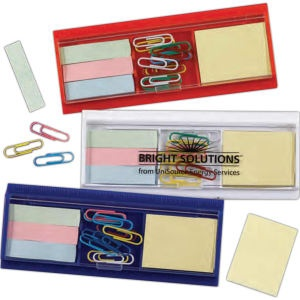 Ruler, paperclips, sticky flag, and pad set. Comes with case. Imprinted. 150 for $1.25