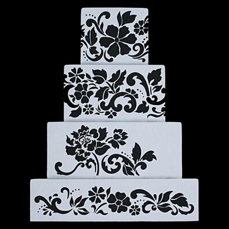 Flower Plantilla Stencil Bakeware 4PCS/SET Baking Fondant Cake Decorating Tools for Cupcake Template Mold Spiral Decoration