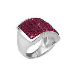 Anello Quadrato in Argento con Swarovski rossi Crystal Evolution - Tattoo Supply: Ingrosso forniture per tatuatori firmato Micromutazioni