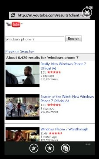 The official Youtube app for Windows Phone 7