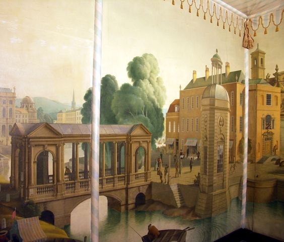 Rex Whistler decorated the Tent Room at Port Lympne, Kent for Sir Philip Sassoon. In his prestigeous composition, he included a Palladian Bridge, A Stowe pavilion, St Martin-in-the-Fields and many more famous architectural buildings.