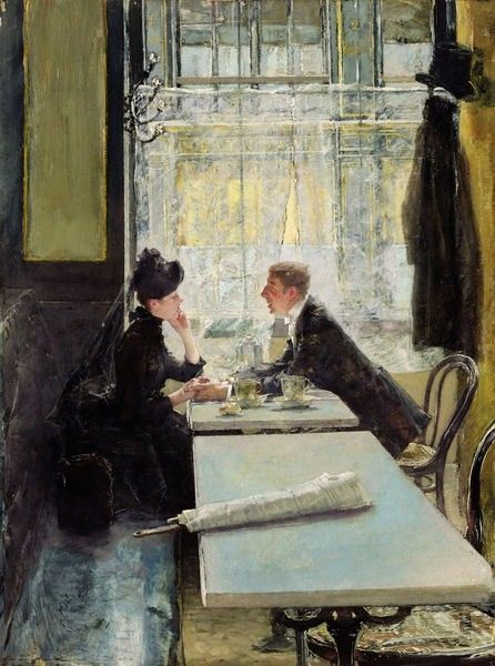 Cafe Paintings (19th and 20th centuries) ~ Blog of an Art Admirer  Gotthardt Kuehl, Lovers in a Cafe