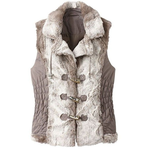 Uppsala Faux-Fur Vest ($30) ❤ liked on Polyvore featuring outerwear, vests, taupe, travelsmith, fake fur vest, slim vest, vest waistcoat and faux fur waistcoat