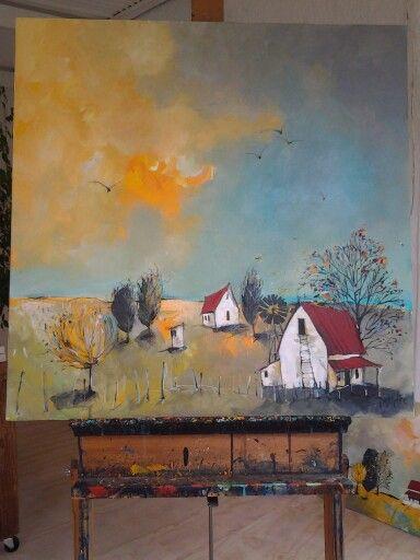 'Karoo farm' mixed media on streched canvas by Glendine