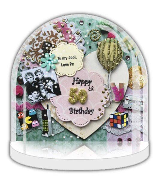 80's memorabilia gift, 50th birthday gift, Personalised snow globe, snow globe handmade design, keepsake, photo gift, snow globe decor