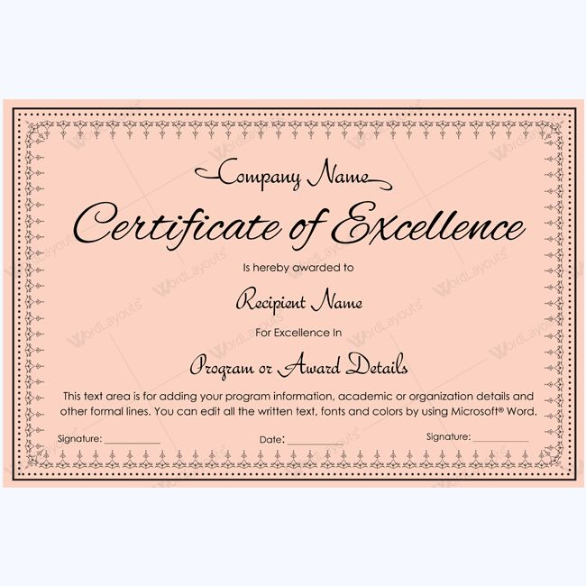 16 best Certificate of Excellence templates images on Pinterest - certificate of excellence template word