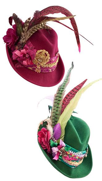 Completely beautiful feather adorned hats to pair with your favourite dirndl outfit. #hat #feathers #dirndl #dress #German #folk #costume