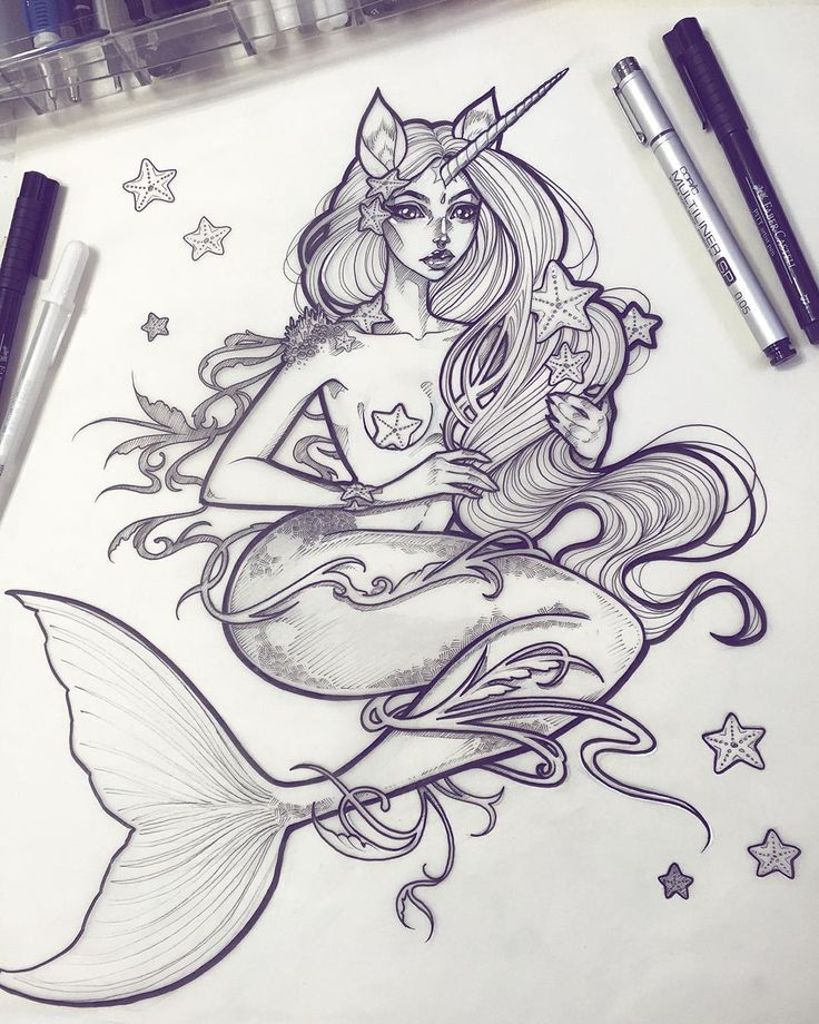 Mermicorn - the clean skin version I love working on the little flash sheets for the tattoos on these ink drawings Shipping some orders/special packages today Answering emails throughout the week. Thank you all for your patience. September-December 2015 was a rough time for me but things are picking up and looking positive now. I can't thank you all enough for supporting me through it all. Much love!! #graphicartery #artshare #artwork #myart #sketch #draw #artsy #arte #art #artnerd #artist…