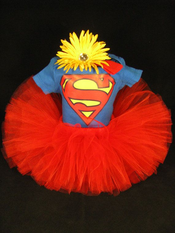 Supergirl Tutu Baby Girls Outfit - Supergirl Onesie with Matching Tutu and Headband - Red Tutu Set - Size 3-6 Month - SG1201 on Etsy, $40.00
