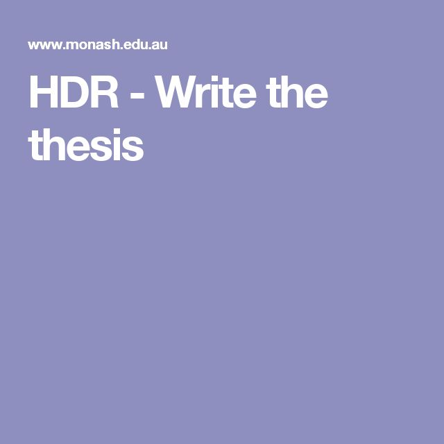 HDR - Write the thesis