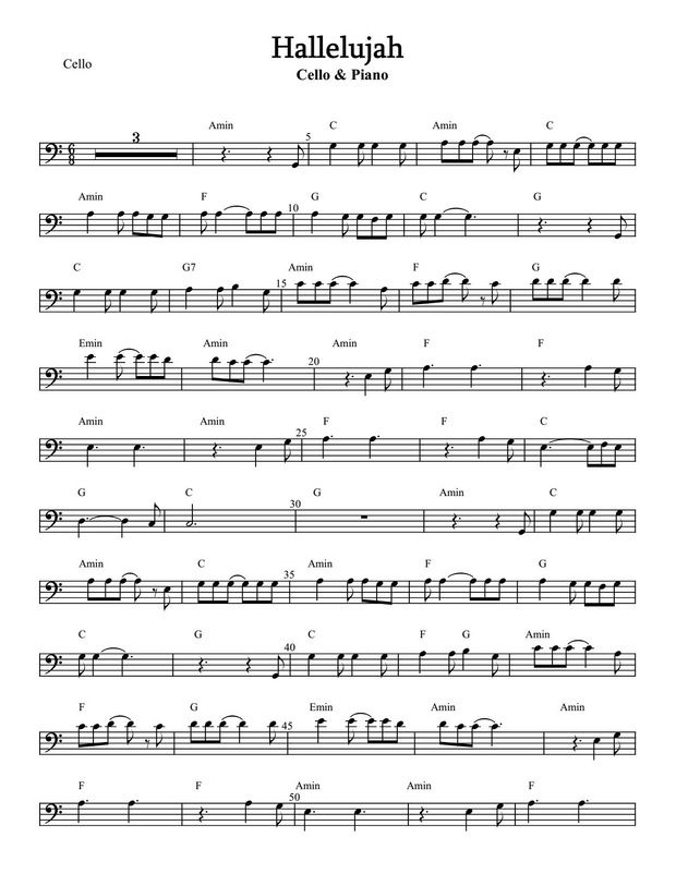 Hallelujah For Cello And Piano Cello Sheet Music Trombone Sheet