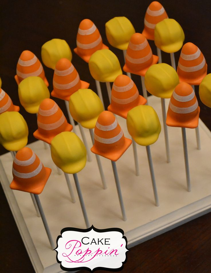 Construction theme cake pops