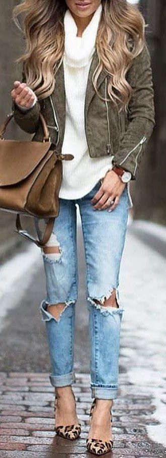 #winter #outfits white shirt, gray blazer, blue denim distressed jeans outfit. Pic by @high_5_to_fashion.