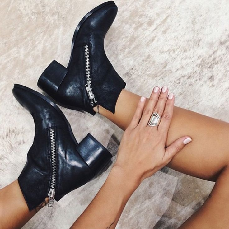 Our ANGELA Black Leather Ankle Boot