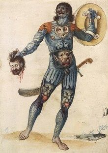 "A, late-16th century, vision of a Pictish warrior (clearly based on Herodian's description of the ""barbarians"" of Caledonia) by John White. The overall blue tinting of the body is inspired by a remark made by Julius Caesar, who had spent a few weeks in the south-eastern corner of Britain in 55BC and 54BC: ""All the Britons, without exception, stain themselves with woad, which produces a blueish tint; and this gives them a wild look in battle."""