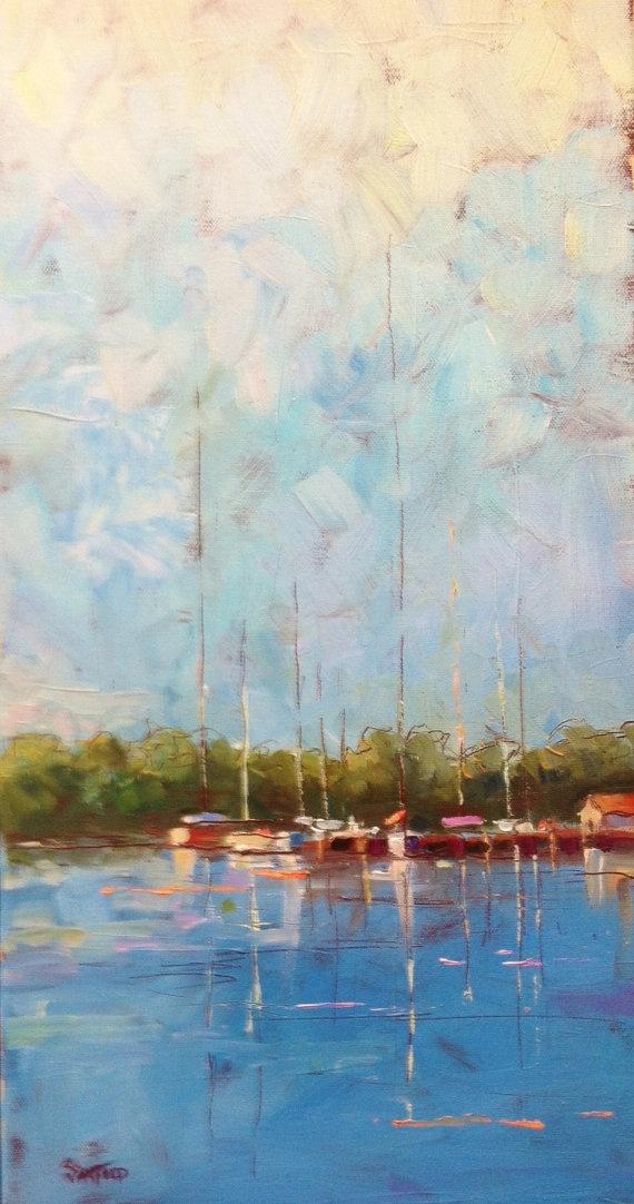 Boat Seascape 12x24 Original Oil Painting by KelleySanfordStudio, $150.00