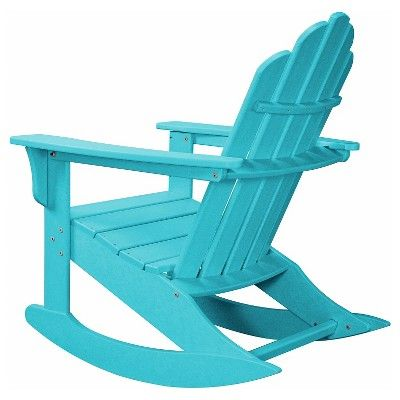 Hanover Outdoor Furniture 3-Piece All-Weather Rocking Adirondack Patio Set - Aruba, Aruba Blue