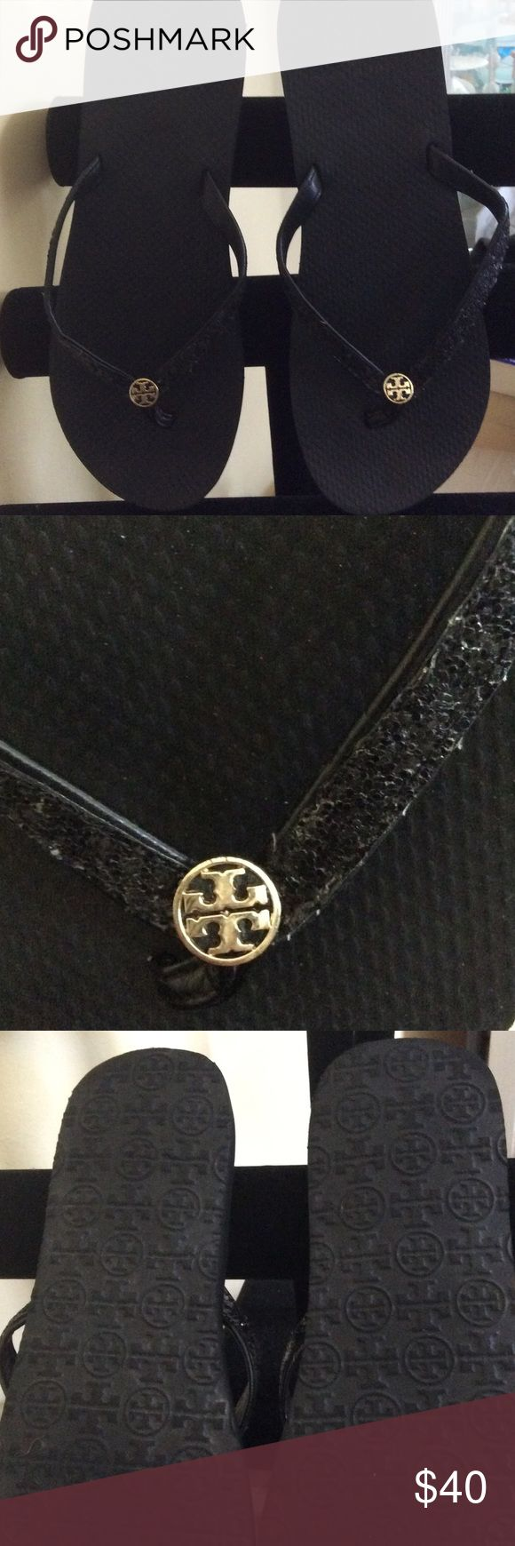 Tory Burch sparkly black flip-flops Tory Burch sparkle!  Black sparkly flip-flops with gold Tory logo. Beautiful condition. Very comfy! Tory Burch Shoes