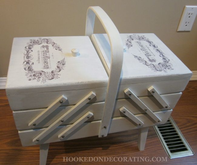 Photo transfers onto wood: a vintage sewing storage box makeover