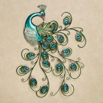 Pretty Peacock Metal Wall Art