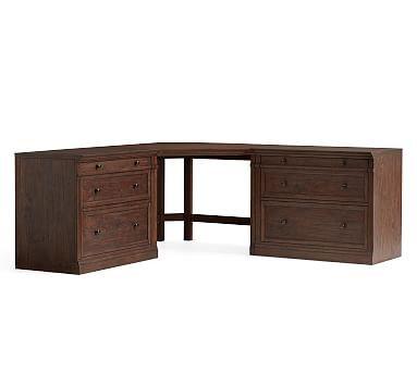 Livingston Large Corner Desk (1 Corner Desk with Legs, 2 Double 2-Drawer Cabinets, 2 Double Tops, Brown Wash
