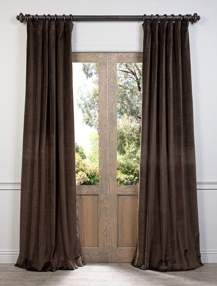 Ash Brown Cotton Velvet Curtain VCCH-3150204-108  , #CottonVelvetCurtain
