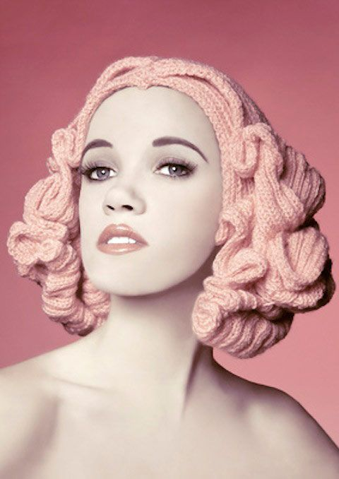 Glamourous knitted hair by Louise Walker ★ How about this instead of paper @Katie Kearney?