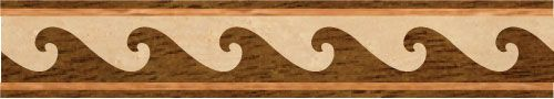 """""""Waves"""": wood flooring inlaid border design. Multiple species, can be sanded and refinished. #border #floorborder #woodfloorborder #woodfloor #wood #woodworking #woodfloordesign #inlay #intarsia #art #design #floor #functionalart #hardwoodfloor #inlaid #marquetry #pattern #parquet #woodinlay"""